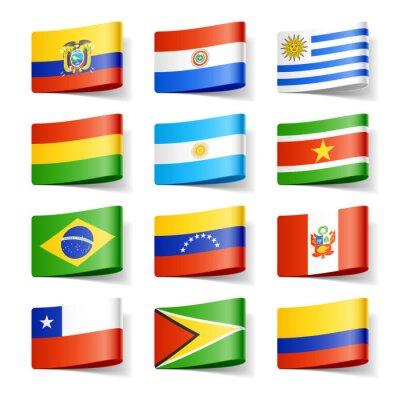 Image drapeaux du monde. Amérique du Sud.