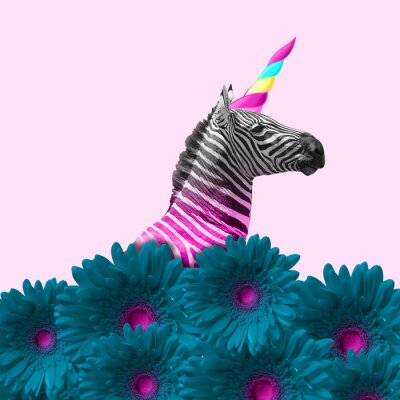 Image Dreaming about being better. An alternative zebra like a unicorn in blue flowers on pink background. Negative space. Modern design. Contemporary art. Creative conceptual and colorful collage.