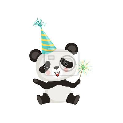 Image Drôle Petit Panda Assis Sur Le Sol Et Tenant Le Bâton De Sparkle
