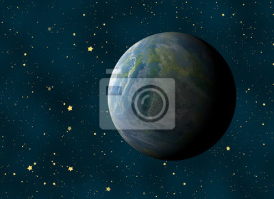 earth planet on a many cosmos stars backgrounds