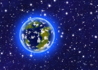 earth planet with nebula lights. cosmos sky backgrounds