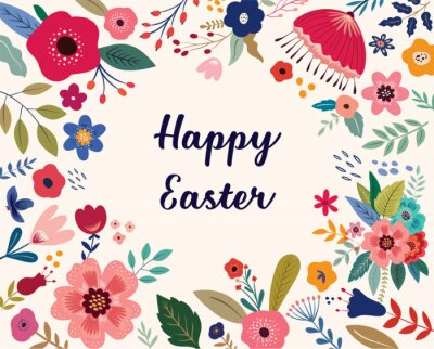 Easter greeting illustration with colorful spring flowers. Happy Easter template, invitation