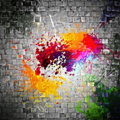 Image éclaboussures d'encre sur mur de pierre