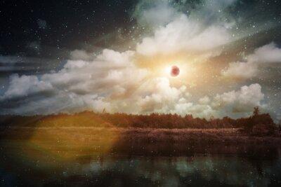 Éclipse solaire sur la rivière