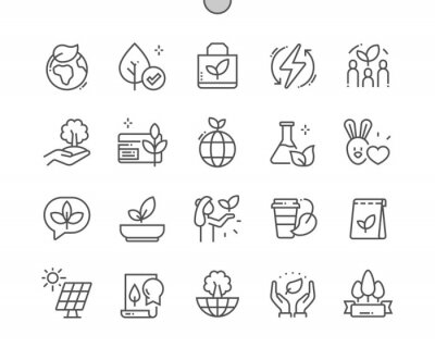 Image Eco friendly. Natural cosmetic. No animal testing. Certified organic. Paper bag. Vegan product. Pixel Perfect Vector Thin Line Icons. Simple Minimal Pictogram