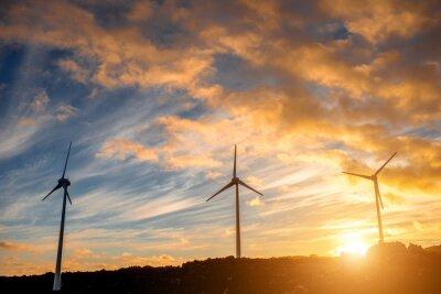 Image Électrique, moulins à vent, ciel, fond, coucher soleil