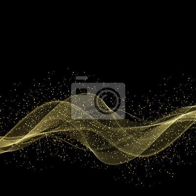 Image élément De Design Abstrait Vague Couleur Or Brillant Avec Effet