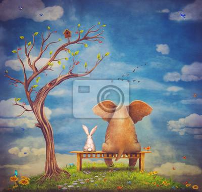 Éléphant, lapin, asseoir, banc, glade