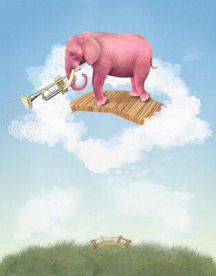 Image Éléphant rose dans le ciel avec une trompette. Illustration