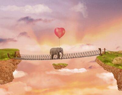 Image Elephant sur un pont dans le ciel avec le ballon. Illustration