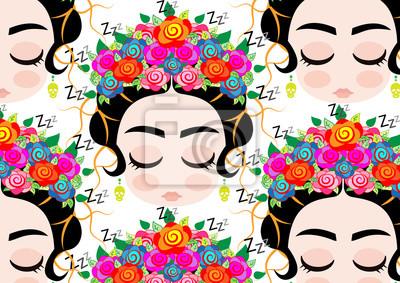 Image Emoji Bébé Femme Mexicaine Avec La Couronne De Fleurs Colorées
