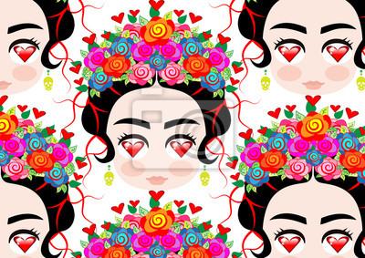 Image Emoji Bébé Femme Mexicaine Avec Une Couronne De Fleurs Colorées
