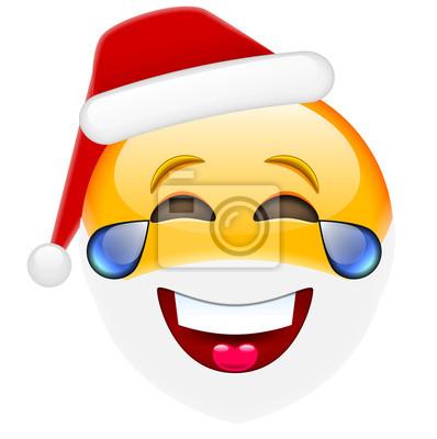 Emoticon De Noël De Sourire De Rire De Rire Avec Des Larmes Pour