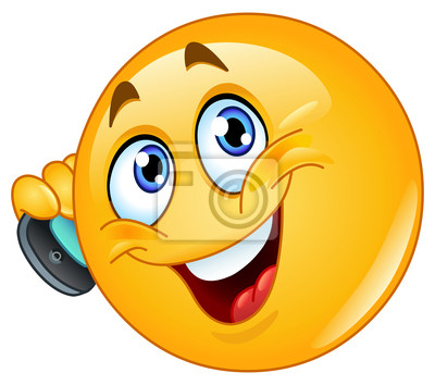 Emoticone Avec Le Telephone Cellulaire Peintures Murales Tableaux Smiley Smartphone Telephone Portable Myloview Fr