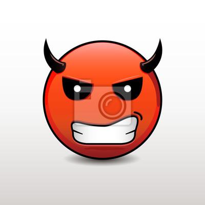Emoticone Du Diable En Colere Vector Emoji Smiley Peintures Murales Tableaux Infernal Scarey Diabolique Myloview Fr