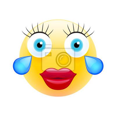Emoticone Feminine Avec Des Larmes Emoji Moderne Realiste Peintures Murales Tableaux Lol Discuter Pleurer Myloview Fr
