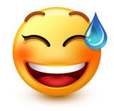 Émoticône mignon de rire-visage ou emoji smiley 3d, riant tellement peintures murales • tableaux ...