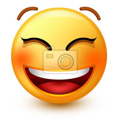 Emoticone Mignon Sourire Face Ou Emoji Smiley 3d Avec Une Bouche Peintures Murales Tableaux Emoticones Smileys Blog Myloview Fr