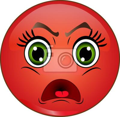 Emoticone Smiley Rouge En Colere Vecteur Stockage Peintures Murales Tableaux Emoticones Suspecter Smiley Myloview Fr