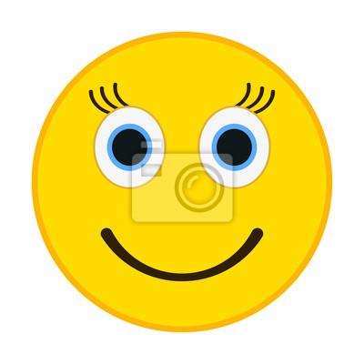 Emoticone Sourire Aux Yeux Heureux Femme Emoji Illustration Peintures Murales Tableaux Emoticones Embarrasse Smileys Myloview Fr