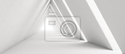 Image Empty Long Light Corridor. Modern white background. Futuristic Sci-Fi Triangle Tunnel. 3D Rendering