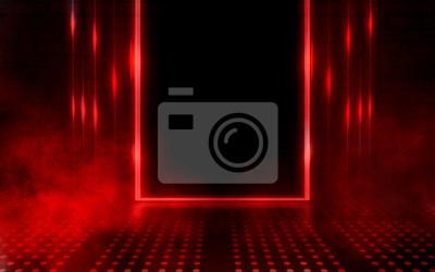 Image Empty scene background. Dark background of empty room, neon red light, concrete floor, smoke