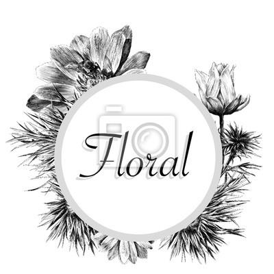 Encadrer Une Couronne De Fleurs Adonis Dans Un Cercle Croquis
