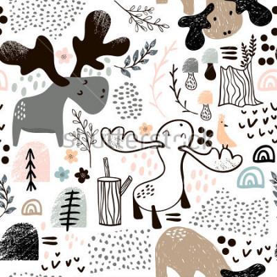 Image Enfantin modèle sans couture avec les élans dans les formes abstraites et bois. Fond de vecteur scandinave à la mode. Parfait pour les vêtements pour enfants, tissus, textiles, décoration de pépinière
