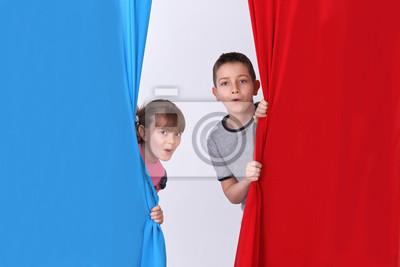 Enfants Et Drapeau Bleu Blanc Rouge Peintures Murales Tableaux
