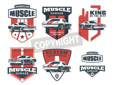 Image Ensemble d'icône classique de muscle car, emblèmes, badges et icônes isolés sur fond blanc. Réparation de voiture de réparation, de restauration de voiture et de conception de club automobile.
