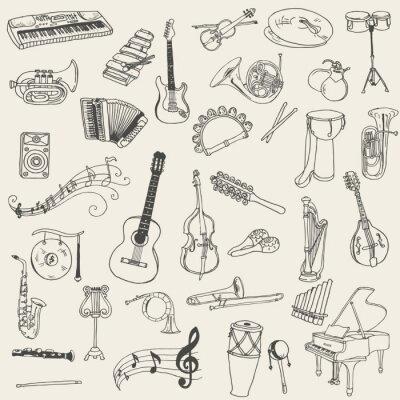 Image Ensemble d'instruments de musique - dessiné à la main dans le vecteur
