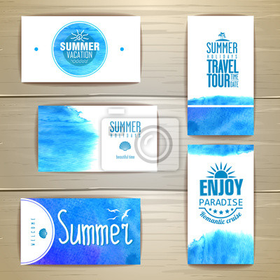 Image Ensemble De Carte Visite Bleu Aquarelle Dete Identite D Entreprise
