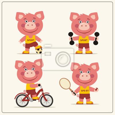 Ensemble De Cochon Drole Est Engage Dans Le Sport Collection Peintures Murales Tableaux Myloview Fr