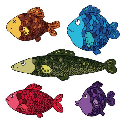 Ensemble de dessin animé de poissons