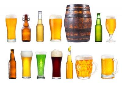 Ensemble de divers verres, tasses et bouteilles de bière