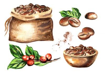 Image Ensemble de grains de café. Aquarelle main dessinée illustration isolé sur fond blanc