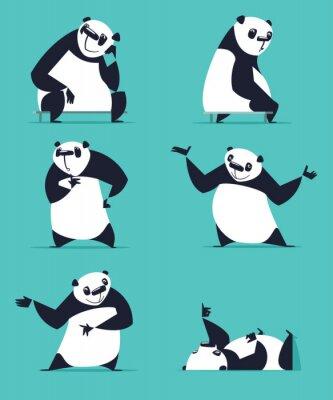Image Ensemble de panda dans diverses poses. Assis, rêver, penser, montrer, mentir, inviter, tourner. Chaque Panda est dans une couche séparée.