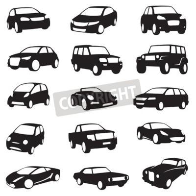 Image Ensemble de quinze silhouettes de voitures noires