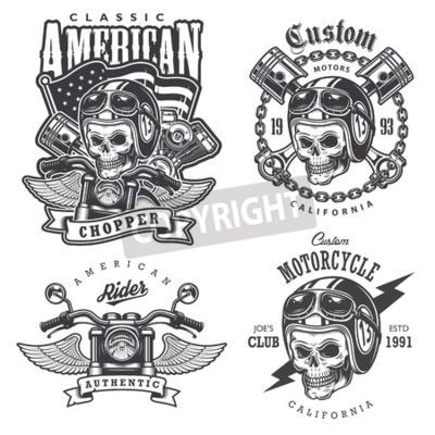 Image Ensemble de t-shirt Vintage moto imprimés, emblèmes, étiquettes, insignes et logos. Style monochrome. Isolé sur fond blanc