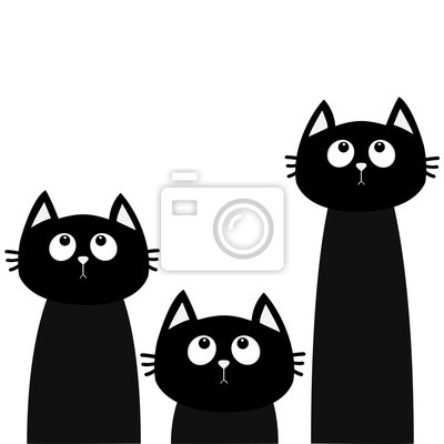 Image Ensemble De Trois Chat Noir Regardant Vers Le Haut Amis Pour