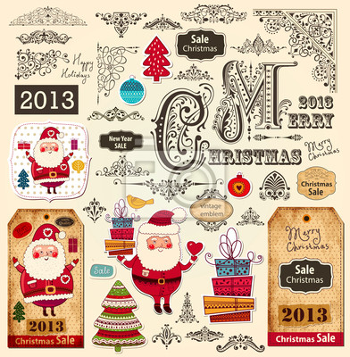 Ensemble de vecteur de décorations de Noël et des éléments de conception