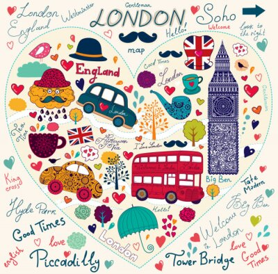 Ensemble de vecteur de symboles de Londres et des monuments
