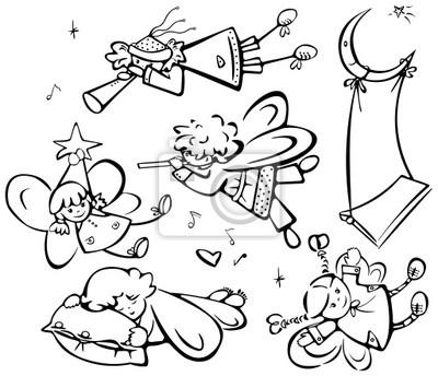 Ensemble des anges cute pour la conception