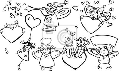 Ensemble des anges cute pour la conception, le jour de la Saint-Valentin!