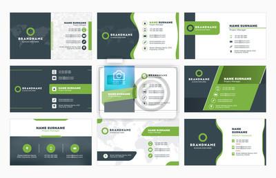 Image Ensemble, moderne, Business, carte, impression, modèles. Carte de visite personnelle avec logo d'entreprise. Illustration vectorielle. Papeterie