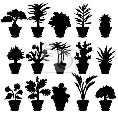 Ensemble noir silhouettes divers potted houseplants et fleurs sur a blanc fond isolé