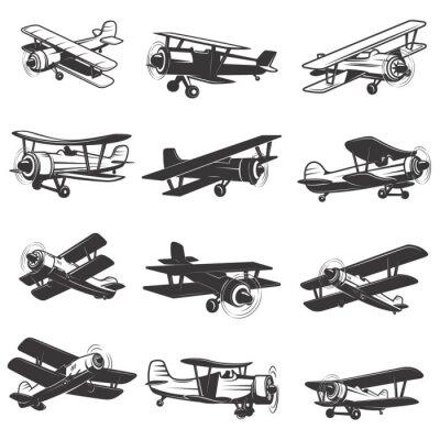Image Ensemble, vendange, avions, icônes Illustrations aériennes. Élément de conception pour le logo, l'étiquette, l'emblème, le signe. Illustration vectorielle.