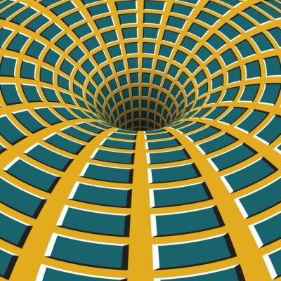 Image Entonnoir à carreaux. Trou rotatif. Motley fond mouvant. Illustration d'illusion optique.