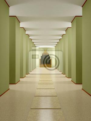 Image: Entrée, couloir avec des colonnes et podium.