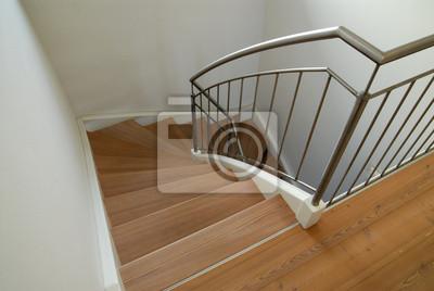 Escalier en bois moderne dans la maison peintures murales • tableaux ...